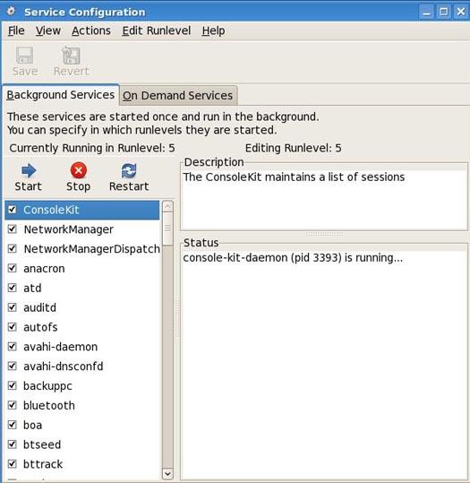 Linux fedora KDE Gnome service management